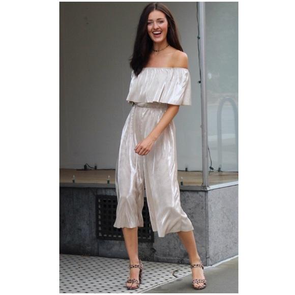6eaeb306f49 Everly Champagne Metallic Pleated Culotte Jumpsuit.  M 5b296f233e0caa0d358b0aba